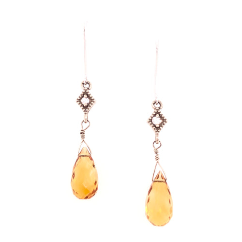 briolette cut citrine drop dangle earrings with diamond accents-14kt white gold  bezels with milgrain accents