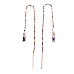 Baguette Diamond Ear Threader Earrings - CaleesiDesigns