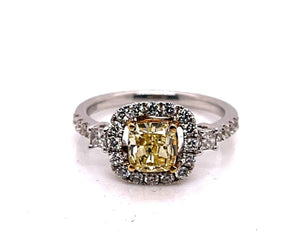 canary diamond, yellow diamond, cushion cut, diamond halo, halo, white gold, engagement ring