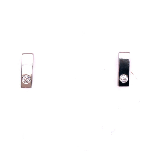 14k White Gold Diamond Bar Earrings - CaleesiDesigns