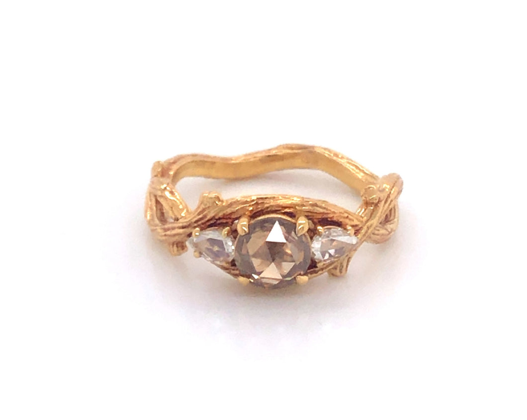 Yellow gold ring, twig ring, champagne diamond, pear shape diamond, diamond ring, unique ring, custom ring