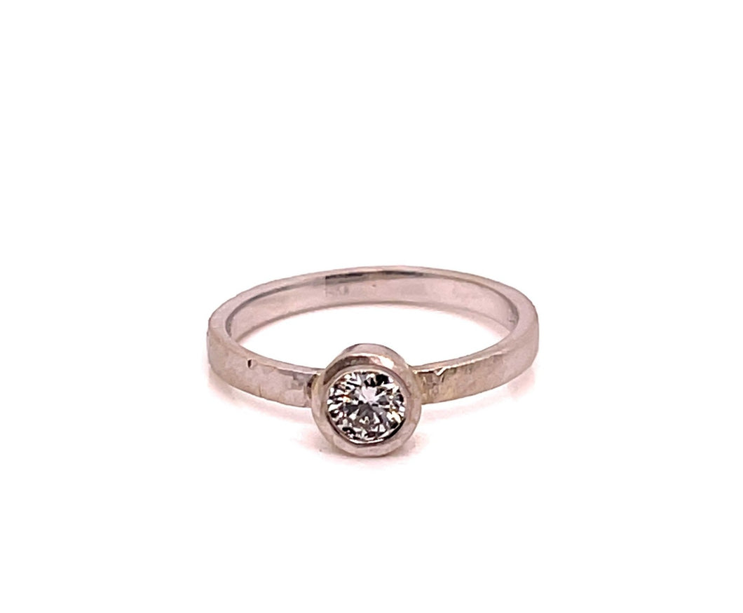 14k White Gold Foil Lab Grown Diamond Ring - CaleesiDesigns
