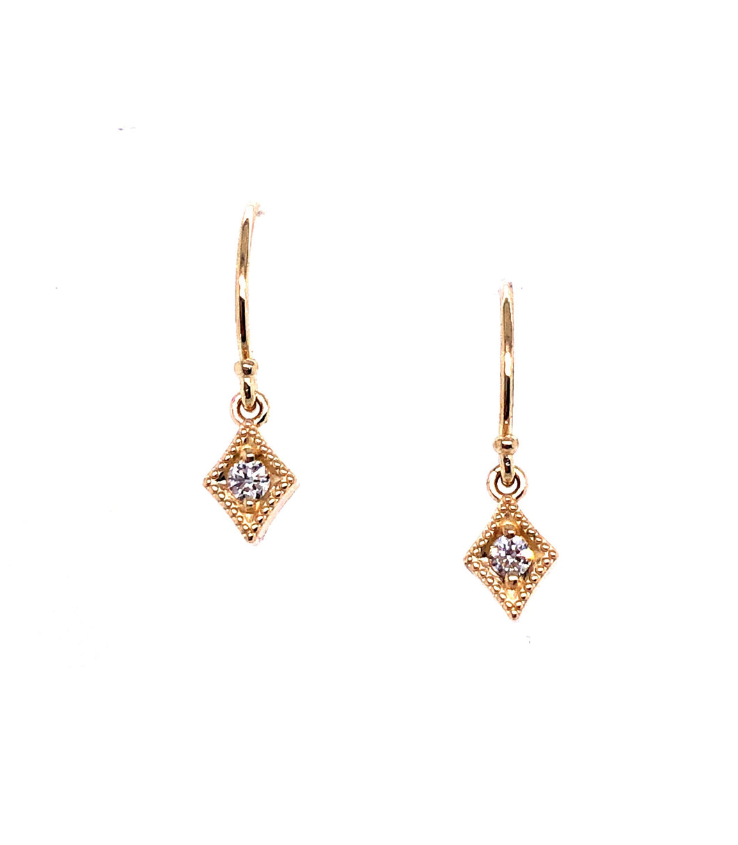 14k Yellow Gold Geo Dangle Earrings - CaleesiDesigns