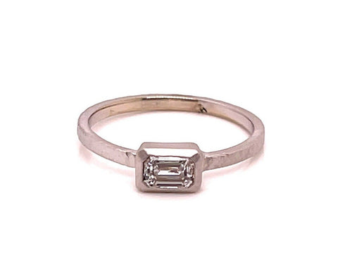 Emerald Cut diamond ring, emerald cut, baguette diamond, white gold, east west ring, solitaire,