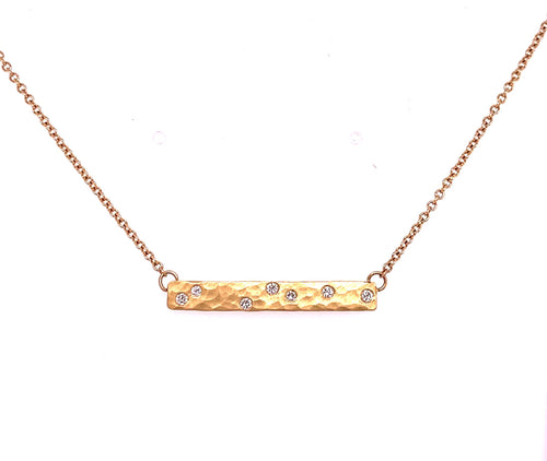 Hammered Diamond Bar Necklace - CaleesiDesigns