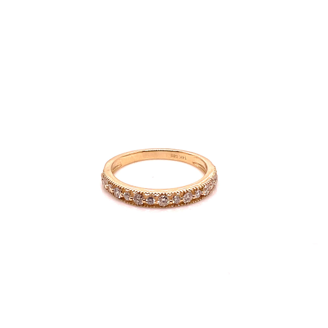 Diamond Milgrain Stack Ring - Yellow Gold - CaleesiDesigns