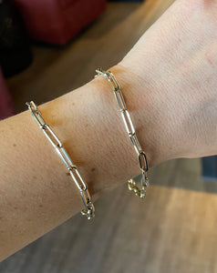 Yellow Gold Paper Clip Bracelet - CaleesiDesigns