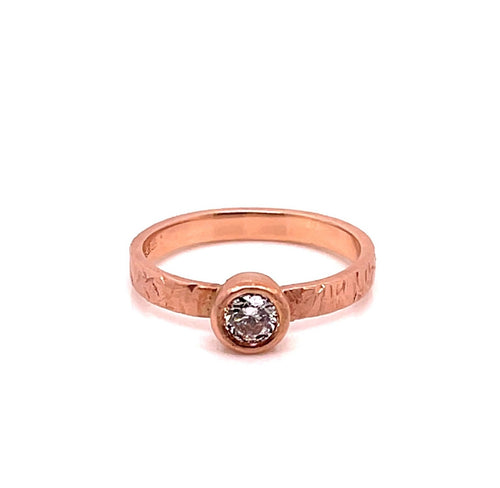 14k Rose Gold Bezel Foil ring - CaleesiDesigns