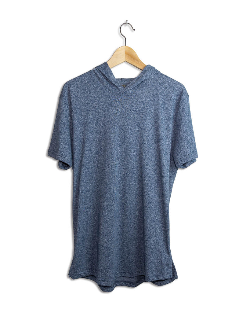 Men's Short Sleeve Active Athleisure Hoodie - Indigo