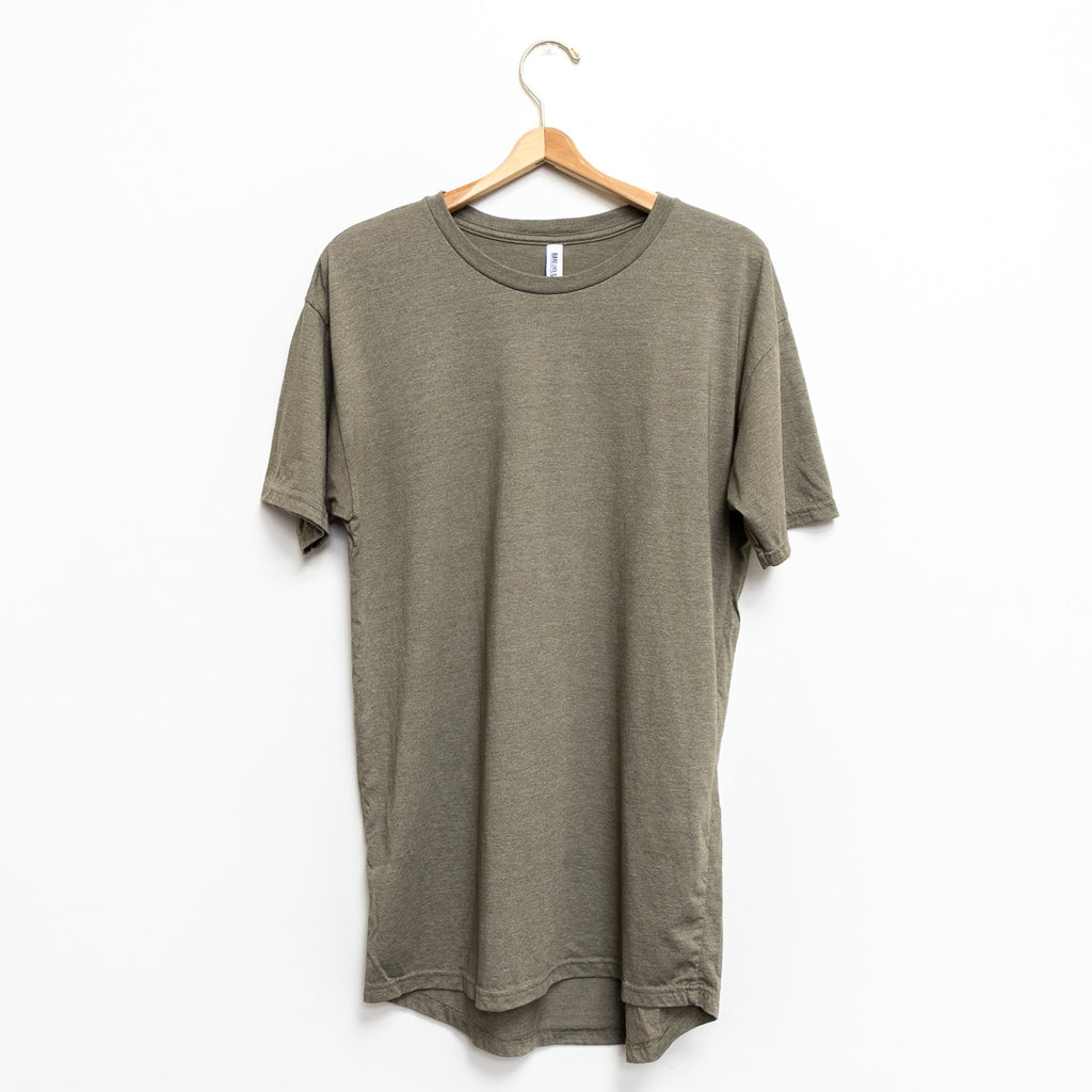 Men's Short Sleeve Drop Tail Long T-Shirt - Olive