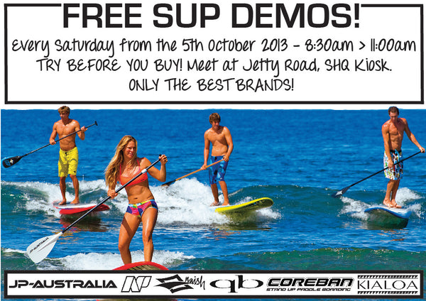 Saturday Morning SUP Demos - from this weekend onwards - SHQ Boardsports