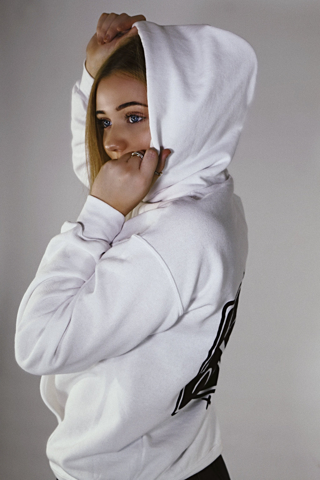 Pyrocynical white hoodie with black print on front and back