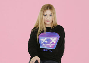 Pyrocynical black sweatshirt with purple TV print on front