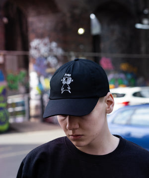 Pyrocynical 5-Panel black cap with white embroidery