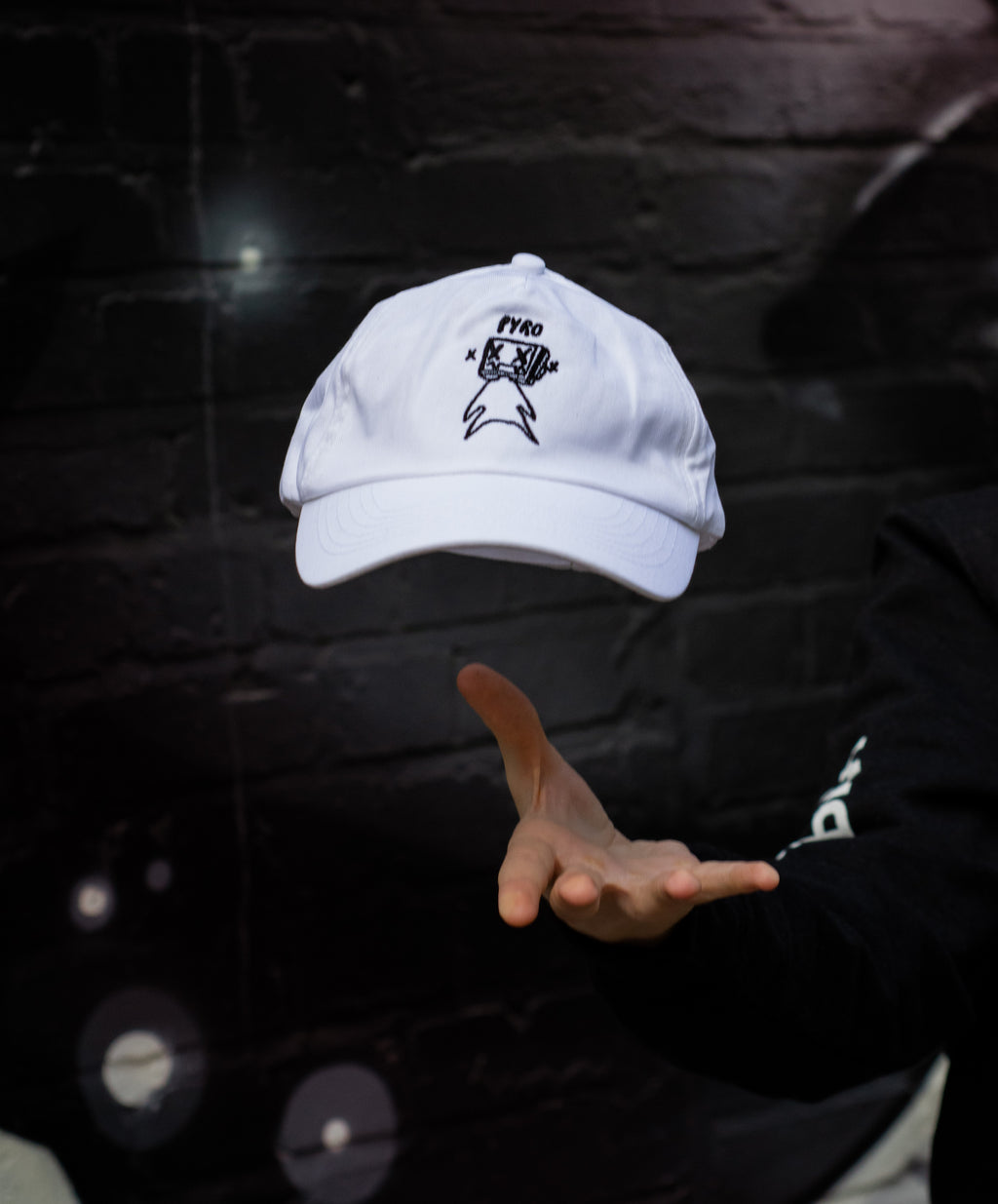 Pyrocynical 5-Panel white cap with black embroidery