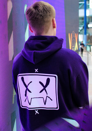 Pyrocynical purple hoodie with white print on front and back