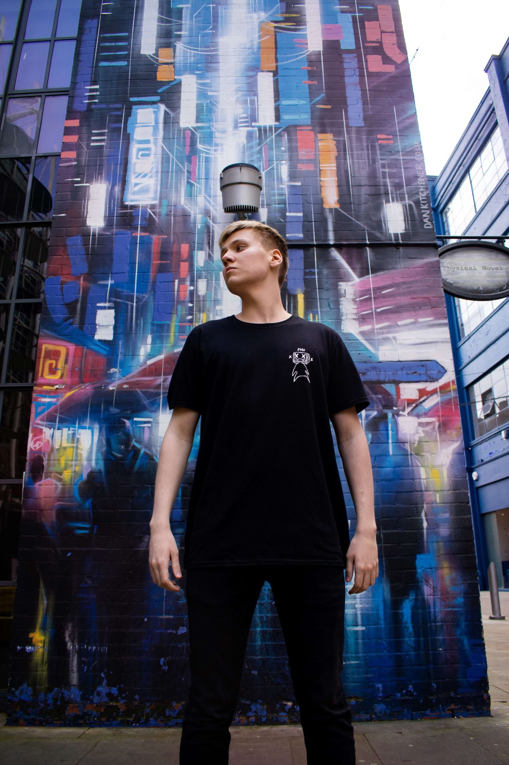 Pyrocynical double print black tee shirt