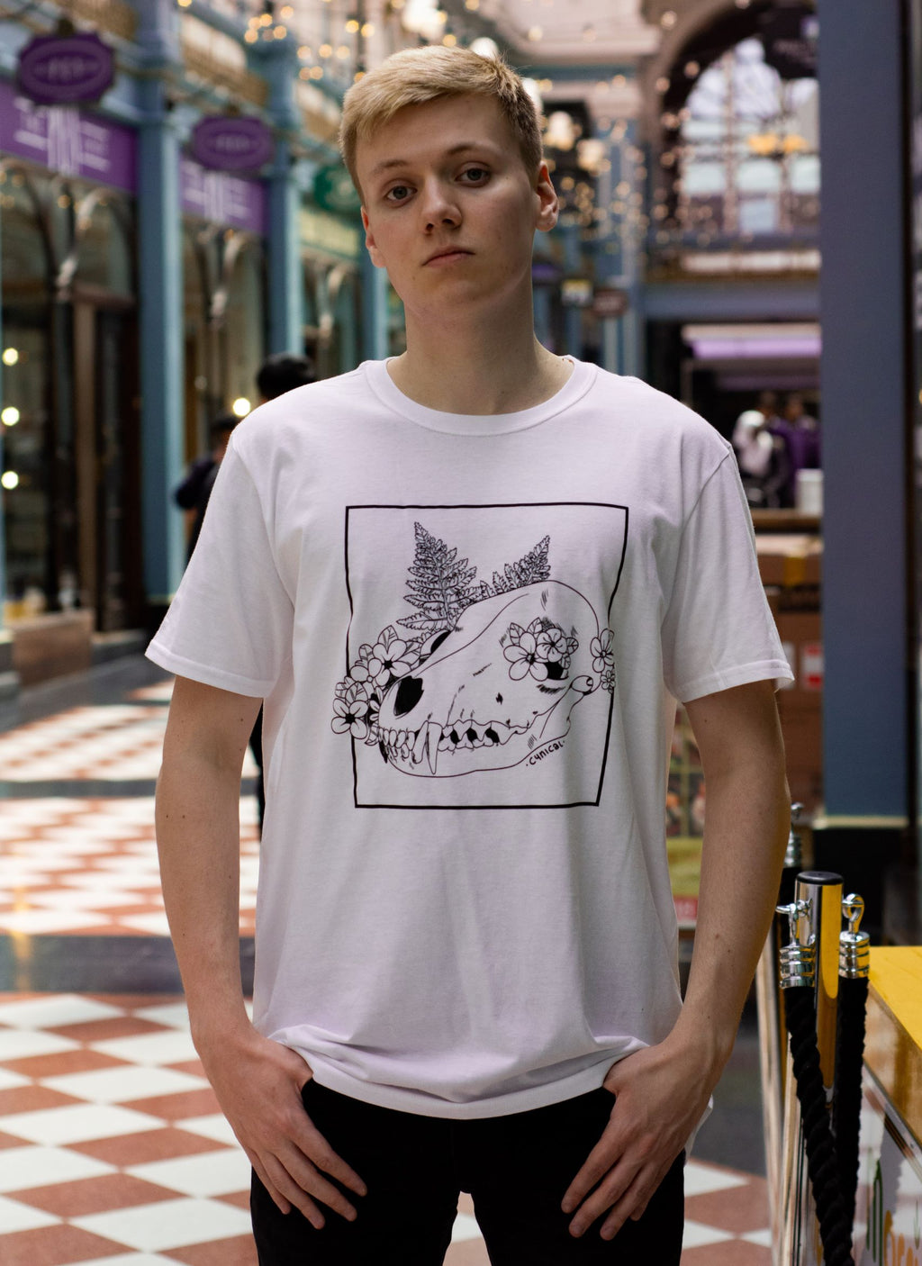 Pyrocynical white t-shirt with fox skull design
