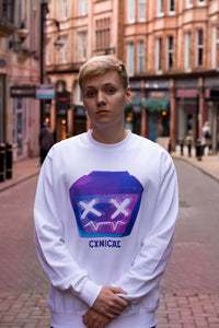 Pyrocynical white sweatshirt with purple TV design on front