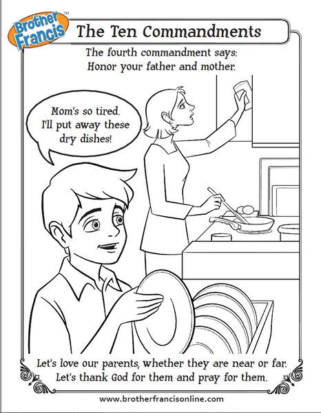 Honor your father and mother - ten commandments coloring page from Brother Francis
