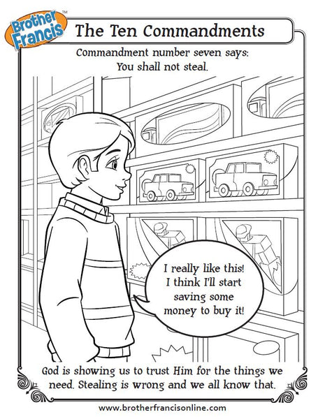 You shall not steal - The Ten Commandments coloring page from Brother Francis