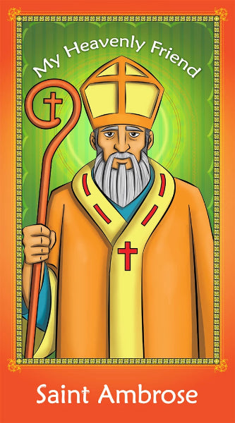 Prayer Card - Saint Ambrose | Holy card for Catholic Kids by Brother Francis