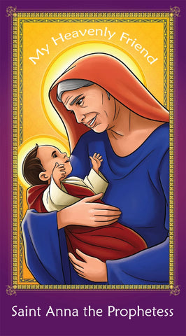 Prayer Card - Saint Anna the Prophetess | Holy card for Catholic kids by Brother Francis
