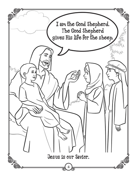 Brother Francis Coloring and Activity Book - He is Risen - the Easter story for Catholic kids sample page