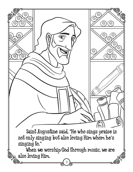 Brother Francis Coloring and Activity Book - Joytoons - Saint Augustine on singing