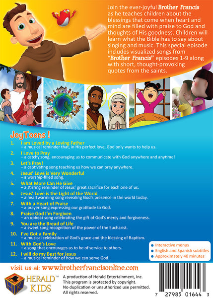 Joytoons | Animated Songs for Catholic Kids by Brother Francis | DVD Synopsis