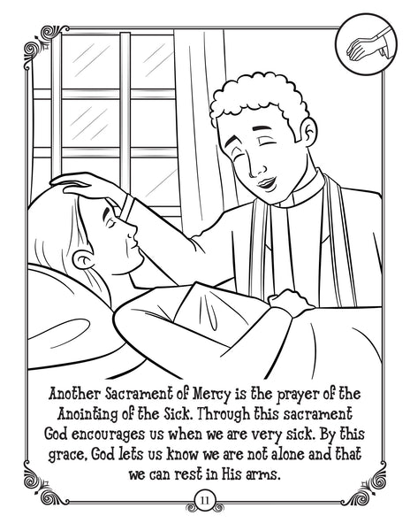 Brother Francis Coloring and Activity Book - The Sacraments for Catholic Kids annointing the sick