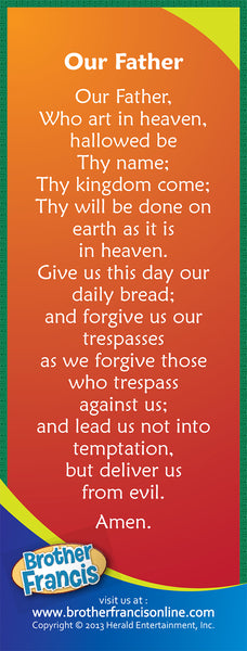 Bookmark - Catholic Our Father prayer on back