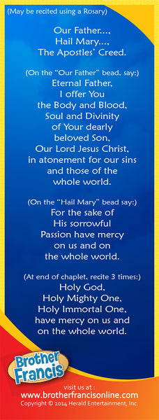Bookmark - Divine Mercy Chaplet by Brother Francis - back