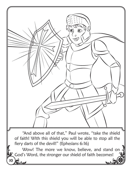 Color and Grow - The Armor of God reader and coloring book - Shielf of Faith