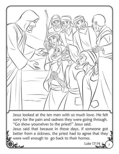 Color and Grow - The Thankful Man coloring book and reader - Jesus heals 10 lepers.
