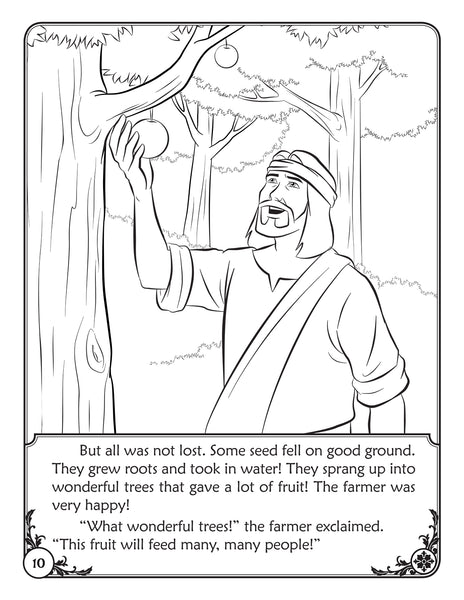 Color and Grow - The Sower parable, reader and coloring book sample page - good ground!