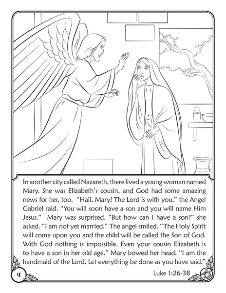 Color and Grow - The First Christmas reader and coloring book The Annunciation