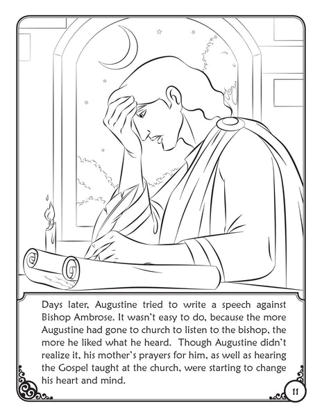 The Story of Saint Augustine - A coloring Storybook by Brother Francis, coloring page writing