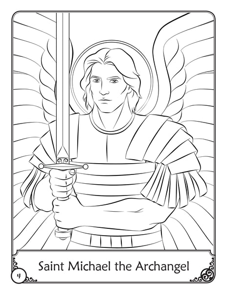 Our Heavenly Friends - The Saints - volume 1 coloring book - Saint Michael