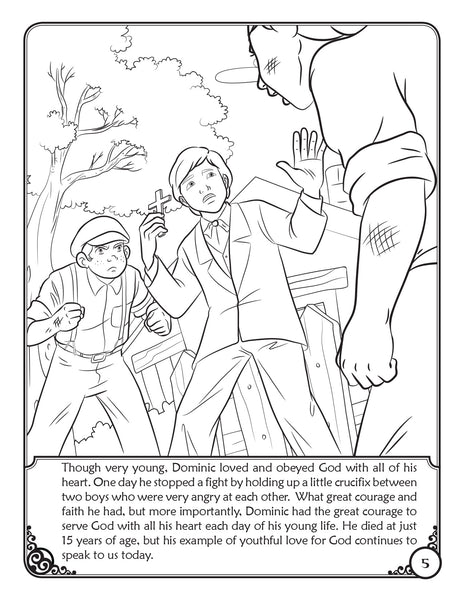 Our Heavenly Friends - The Saints - volume 2 coloring book by Brother Francis, St. Dominic Savio