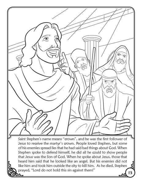 Our Heavenly Friends - The Saints - volume 2 coloring book by Brother Francis, St. Stephen