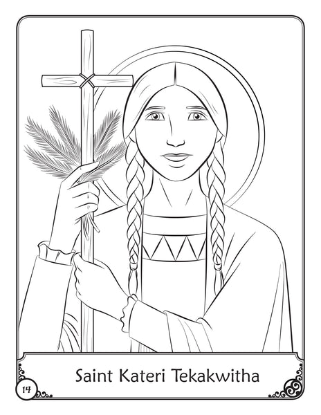 Our Heavenly Friends - The Saints - volume 4 coloring page Saint Kateri Tekakwitha