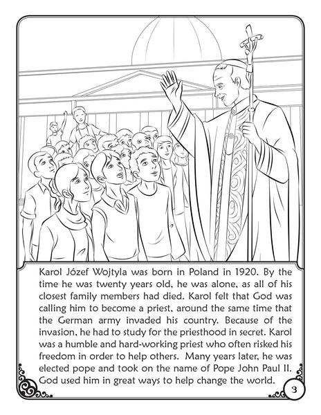 Our Heavenly Friends - The Saints - volume 4 coloring page Saint Pope John Paul II