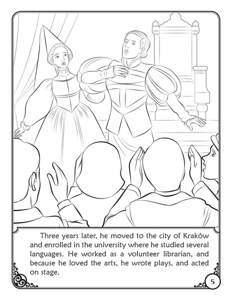 The Story of Pope Saint John Paul II - coloring storybook by Brother Francis, sample page