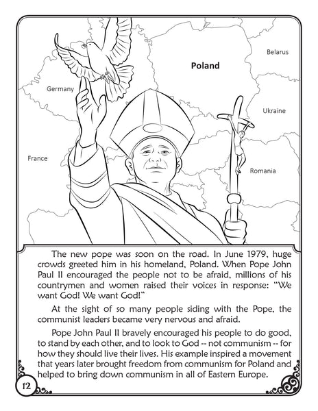 The Story of Pope Saint John Paul II - coloring storybook by Brother Francis, sample page 2