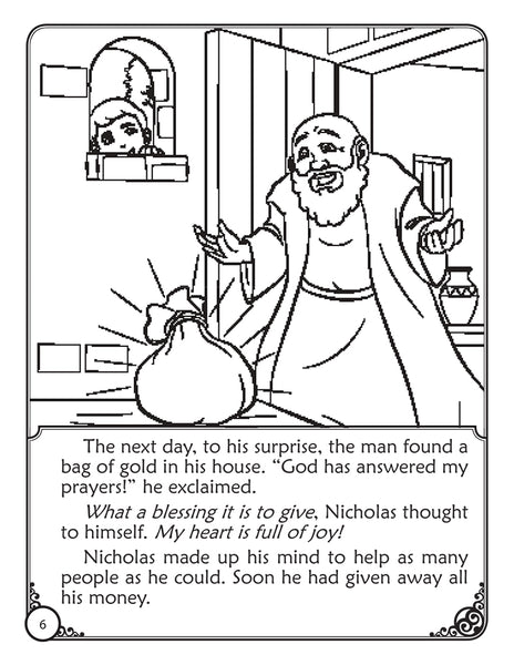 The Story of Saint Nicholas coloring storybook by Brother Francis - sample coloring page 2
