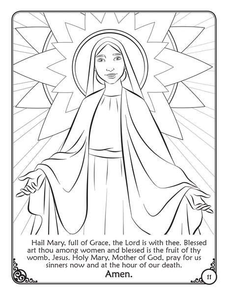 Prayers of the Church Coloring Activity Book by Brother Francis - Hail Mary