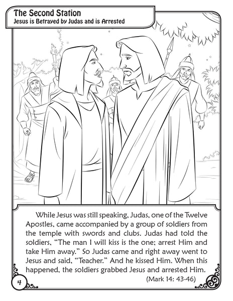 Scriptural Stations of the Cross - a Coloring Storybook for Catholic children first station
