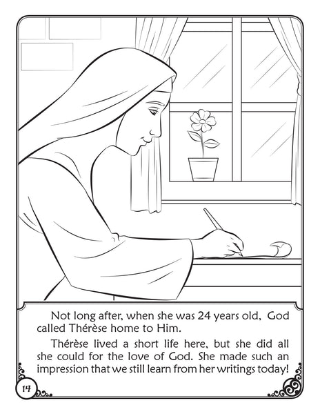 The Story of Saint Therese of Lisieux - a coloring storybook by Brother Francis, sample page
