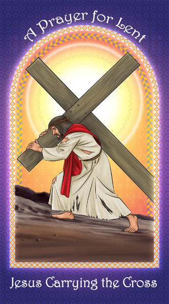 Prayer Card - Jesus Carrying the Cross holy card for Catholic kids